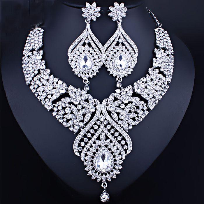 Excelente Champagne cores prata cristais Jóias 2 peças conjuntos de jóias Brincos Colar nupcial Acessórios nupcial jóia do casamento T226324