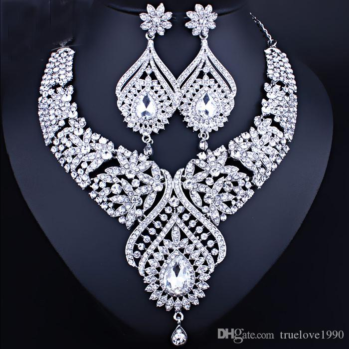 Excellent Champagne Silver Colors Crystals Jewelry 2 Pieces Sets Necklace Earrings Bridal Jewelry Bridal Accessories Wedding Jewelry T226324