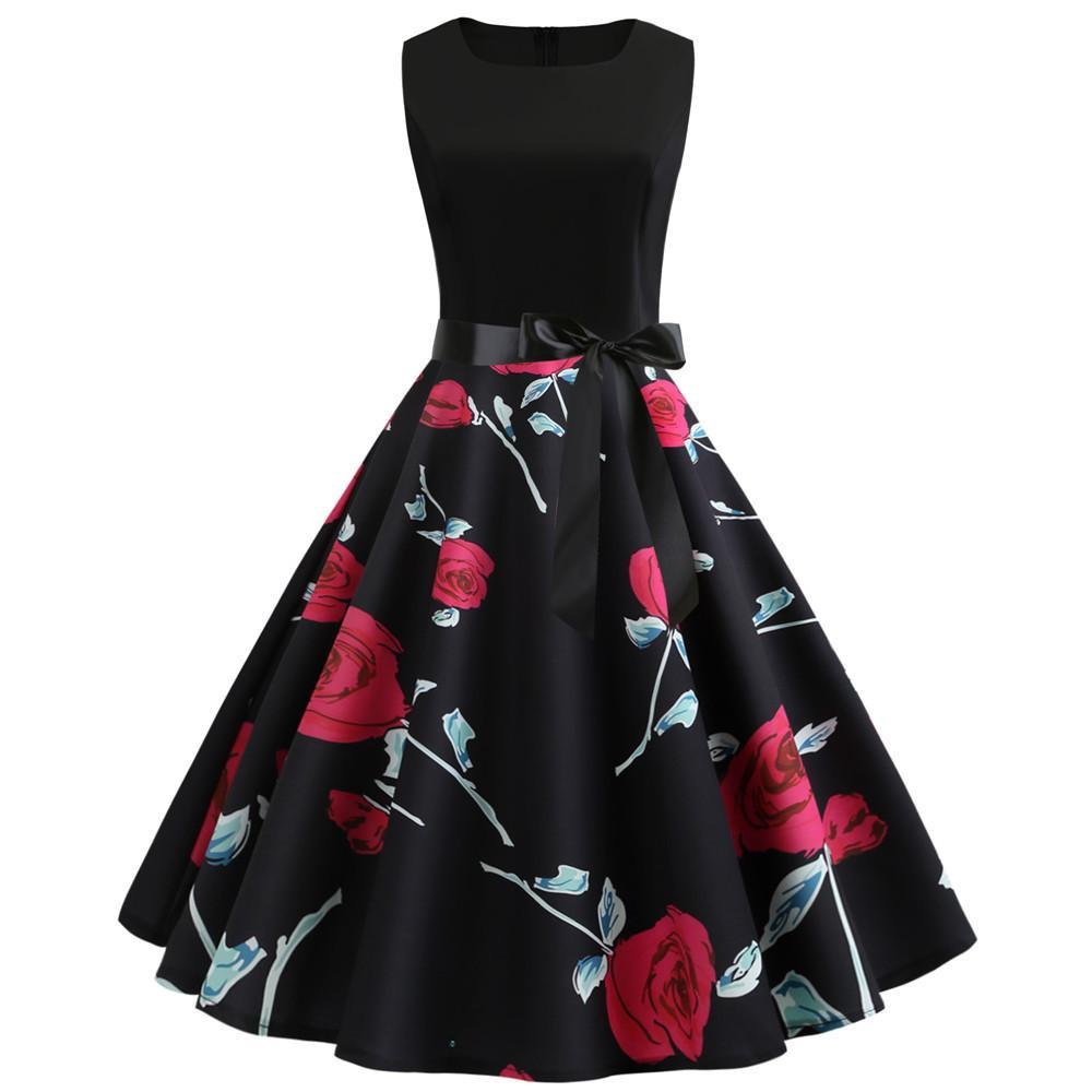 # JY13454 Toptan Kadın moda Yaz giysileri çiçek dijital baskı O-boyun Kolsuz geri fermuar bağbozumu Nedensel Elbiseler