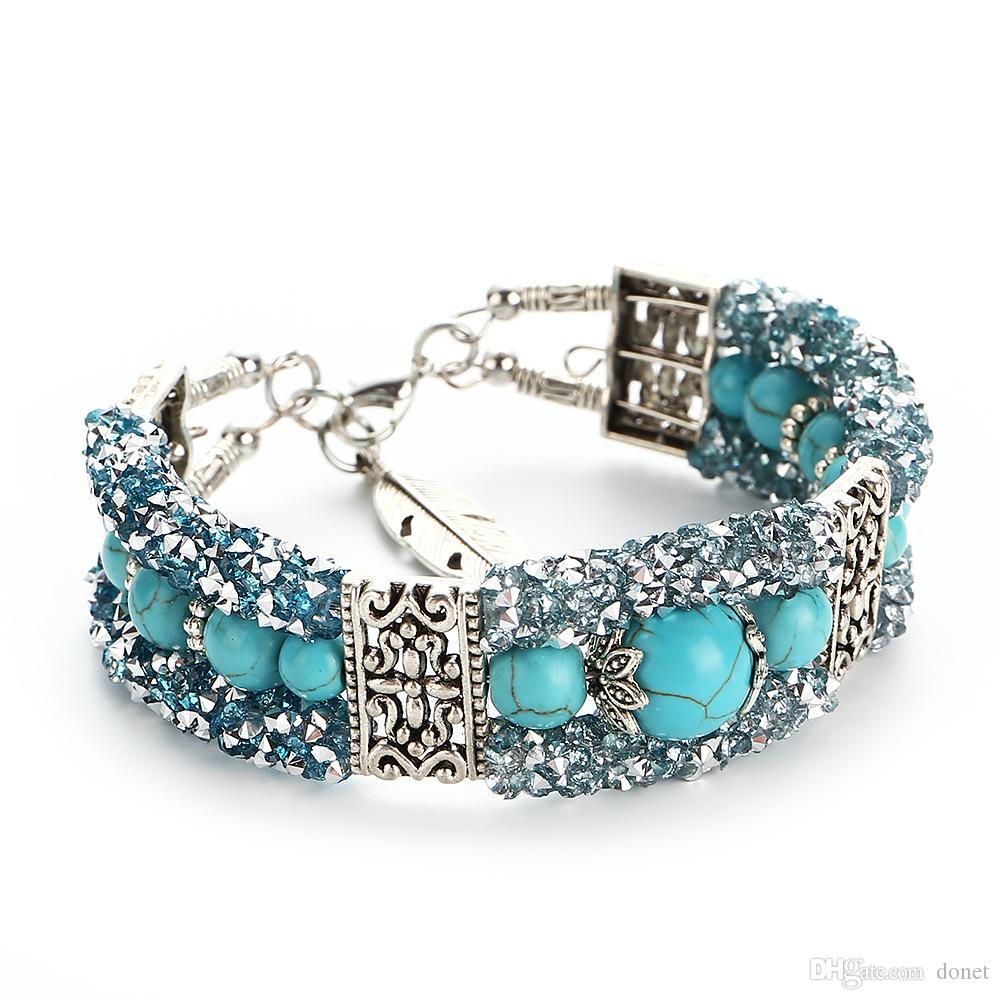 Vintage Tibetan Silver Feather Turquoise Beads Bracelet Bangle Crystal Diamond Turquoise Bangle Women Jewelry