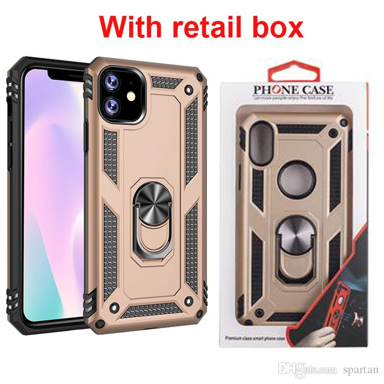 For iPhone 11 2019 XS MAX 7 8 Plus Ring Defender Case Stand Holder Armor Phone Cover with retail box