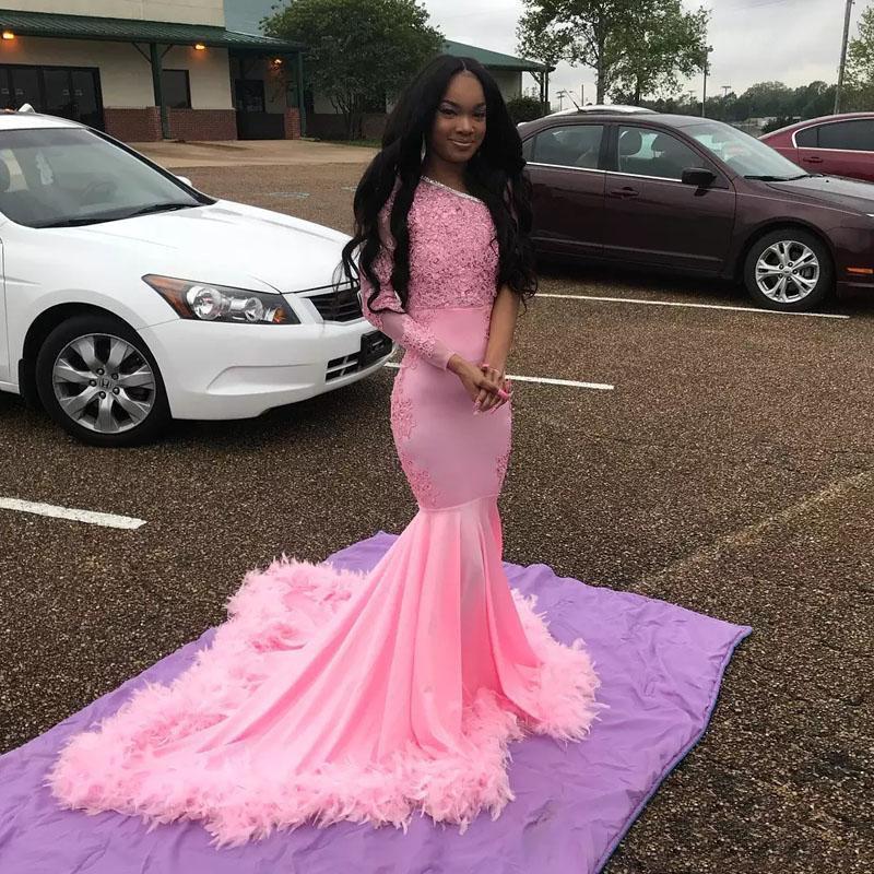 Rosa Prom Dresses 2020 una manica lunga una spalla Feather Lace Appliques sirena abito da sera africani Black Girls lunghi abiti convenzionali