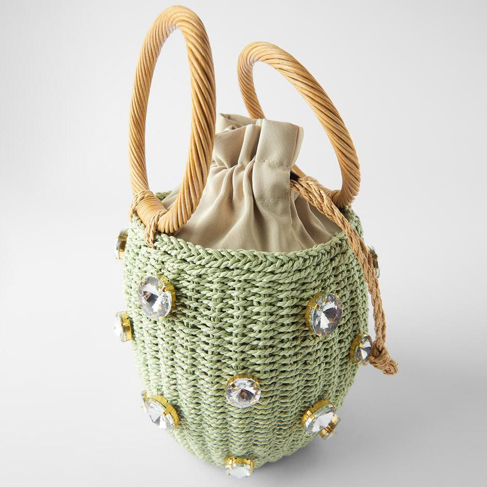 Oswego Green Diamonds Straw Handbags For Women Hand-woven Rattan Bag Female Tote Bag 2020 New Summer Holiday Bohemia Beach Bag