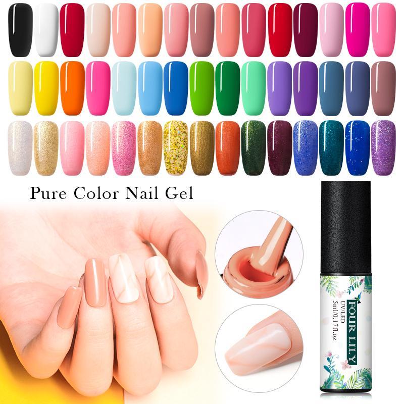 Quatro Lily 5ml Gel Nail Polish UV Vernis Semi Brasão permanant Top 176 Pure cor das unhas Art Manicure Soak Off Gel UV Verniz