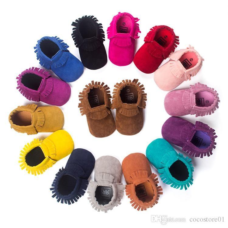 Baby-weiche Sohle erste Krippe Schuhe 15 Farben Säuglingskleinkind-Frühlingsherbst Baby Mokassins Kinder Babyschuhe neuen Quaste Schuhe entworfen