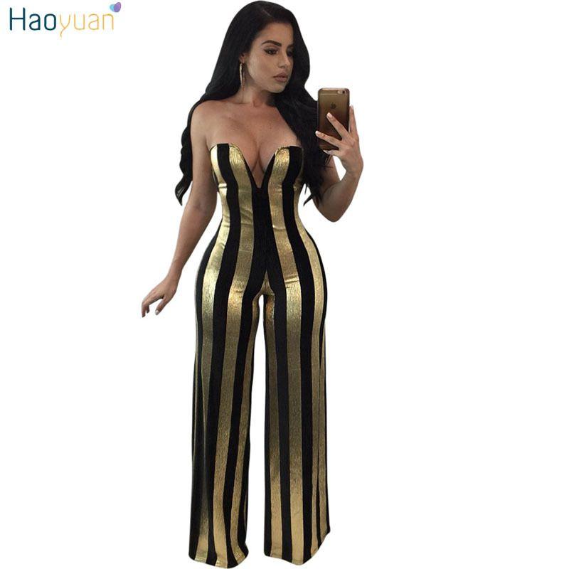 Haoyuan oro Balck righe pagliaccetti delle donne tuta elegante fuori dalla spalla tuta sexy del partito Tuta femminile gamba larga tute T200519
