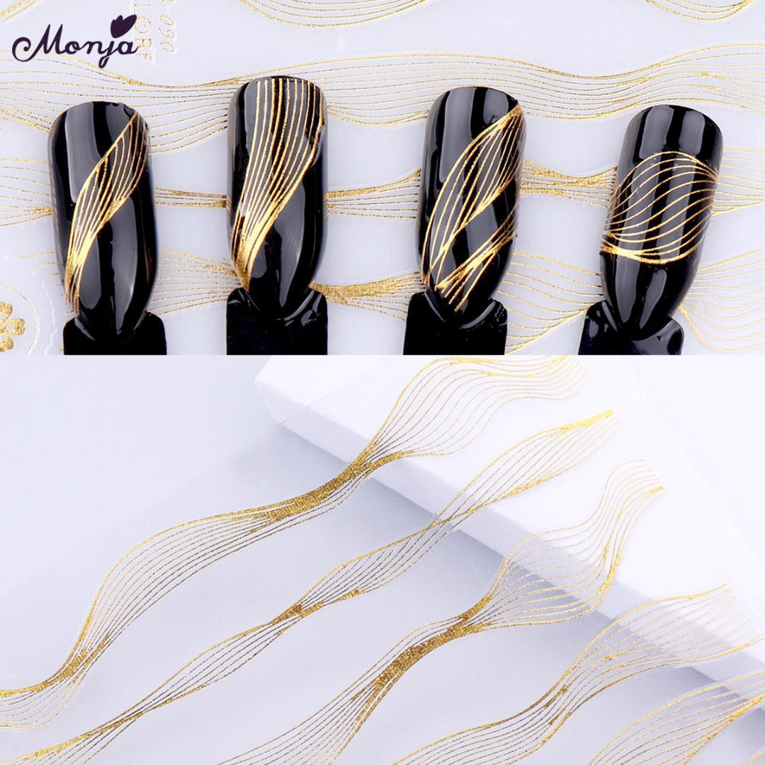 Monja Nail Art Stickers Laser Metal Dourado Stripe Line Tape Folhas de Transferência Auto-Adesivo Decalques DIY Dicas Manicure Decoração