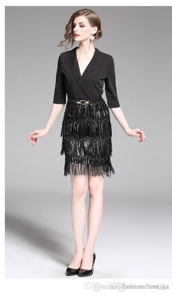670619ab10798 Women Mini Dress Sequins Black Elegant Half Sleeve V Neck France Roman  Formal Office Ladies Daily Fashion Evening Party Dress DHL Free Modest  Dresses ...