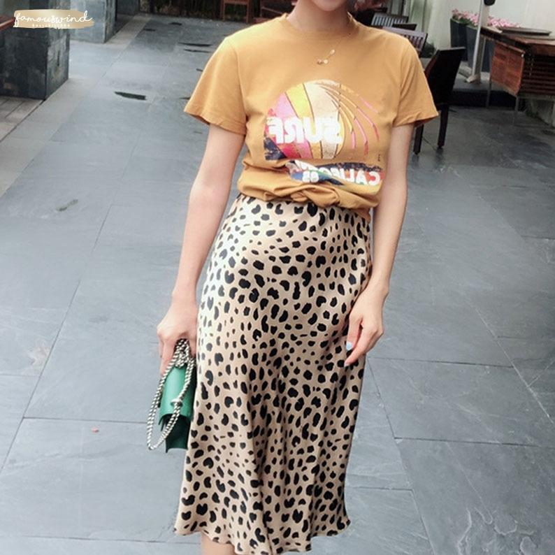 2019 aderente Kawaii Streetwear Estate Leopard Print Womens vita alta Midi Leopard gonna punk di Boho di stile coreano