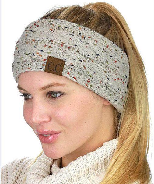 CC Hairband colorato lavorato a maglia Crochet Twist fascia dell'orecchio Winter Warmer fascia elastica dei capelli largo Accessori per capelli