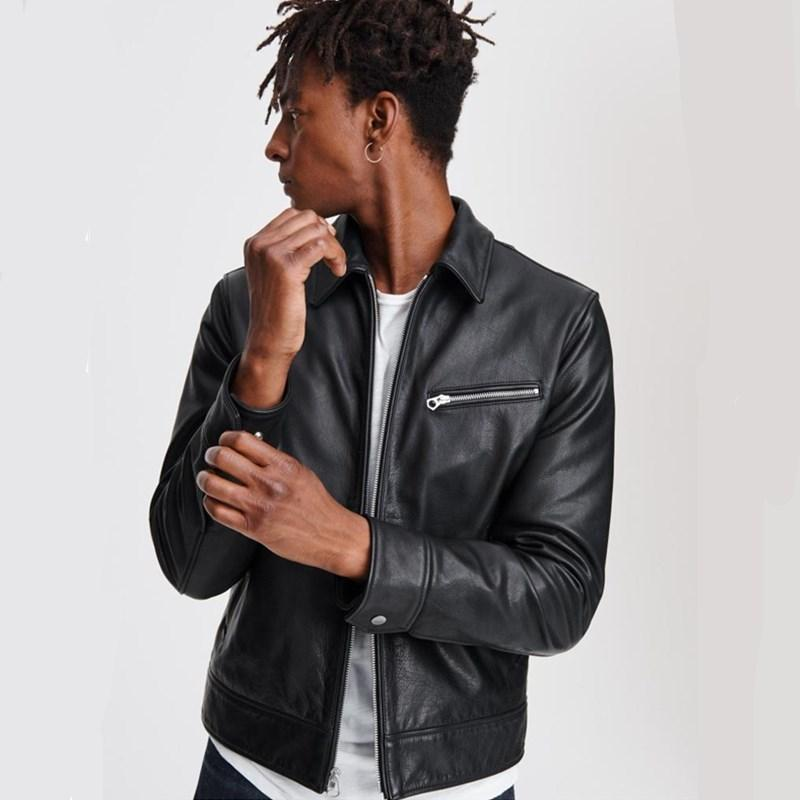 2020 Black Men americano Slim Fit Giacca in pelle casual Plus Size XXXL bovina genuina Moda autunno cappotto di cuoio di TRASPORTO