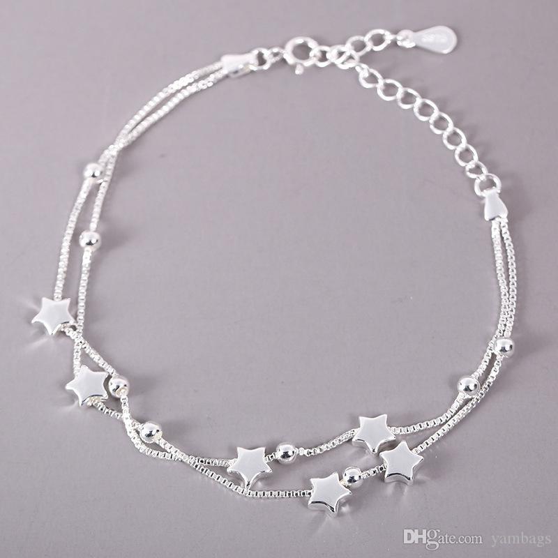 Fünf Sterne Frauen Armband 925 Sterling Silber Glückssperlen Kette Schmuck mit Verschlussstempel Feine Mode Elegant Charme Armbänder Geschenke für Mädchen