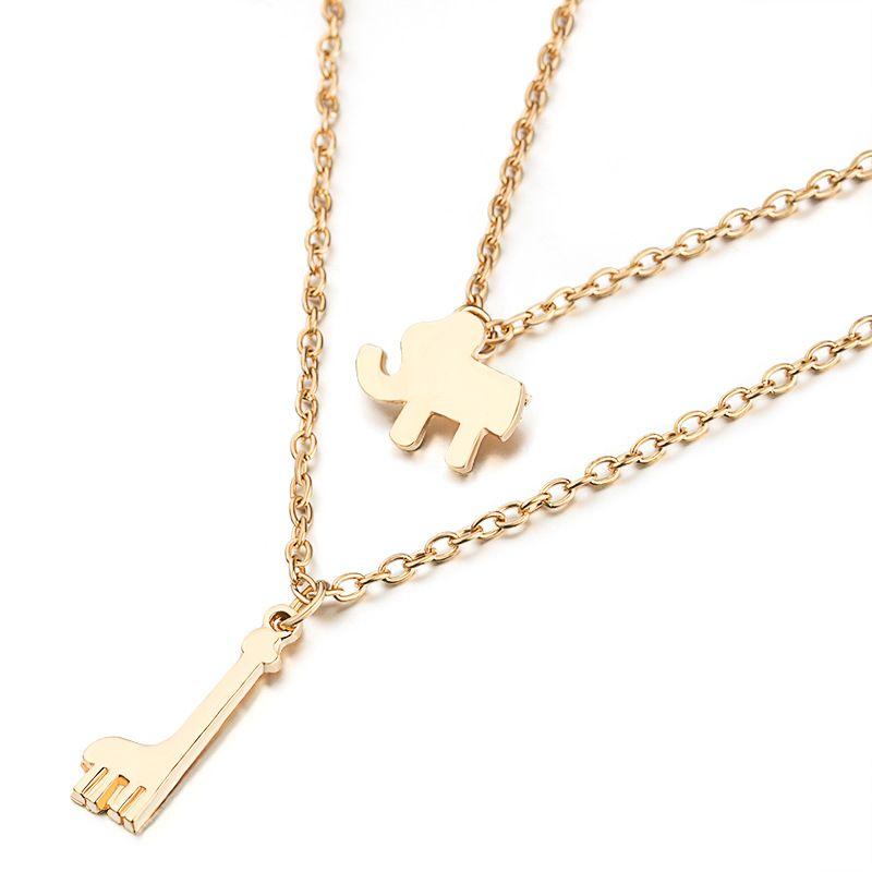 Многослойные ожерелья Elephant ожерелья Подвески Воротник женщин подарка ювелирных изделий двойной цепи Choker ожерелье