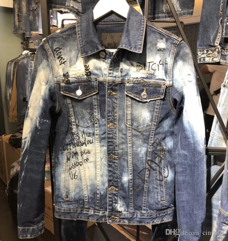 Italian Brand Mens Designer Jackets Graffiti Slim Fit Zipper Pocket Decoration Washed Fashion Brand Bleached Jacket M 3xl Spring Jackets Leather Jacket Men From Cinda01 59 16 Dhgate Com