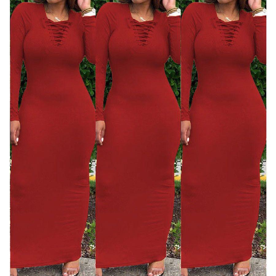 Макси платье рубашка женщин осень-зима осень Sexy Элегантный Vintage бинты Вязаная Черный Bodycon Длинные платья Сарафаны Плюс Размер XXL