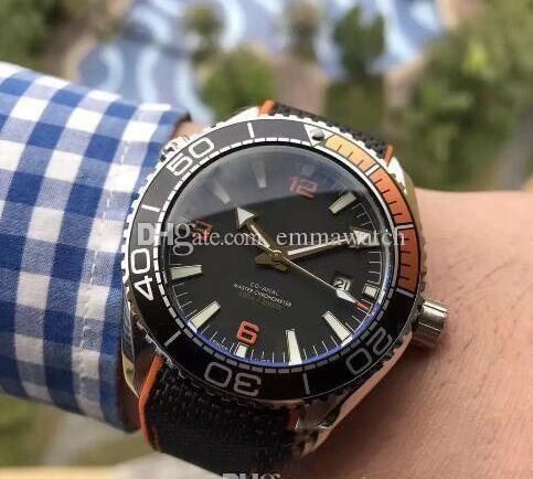 Luxo Professional 600m James Bond 007 Assista Mestre Co-Axial Movment automática inoxidável lona Strap Esporte Mens Relógios de pulso nova