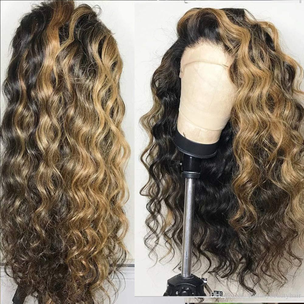 13x6 Frente de encaje Pelucas para el cabello humano Peruano 360 Pelucas frontales de encaje Pelucked con pelo Bebé Limita Ola Destacan Honey Blonde Encaje completo