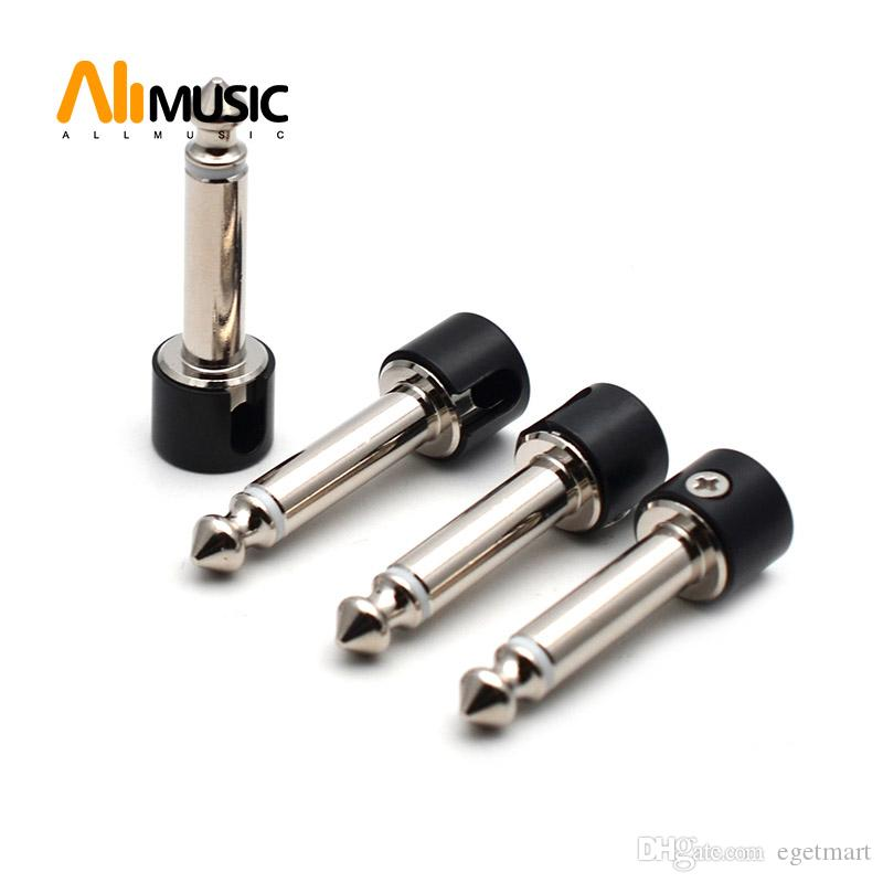 50Pcs Strait Audio Solderless 6.35 Mono Plug Solder Free Plug Guitar Effect Connector Chrome-Black