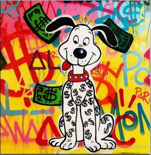 Alec Tekel Bansky Yüksek Kalite Handpainted Soyut Graffiti Sanat Yağlıboya Para Köpek Tuval Duvar Sanatı Ev Ofis Deco g128