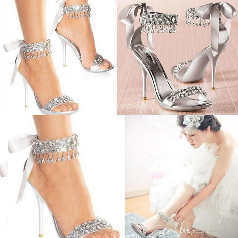 Fashion Wedding Designer Shoes Silver Rhinestone High Heels