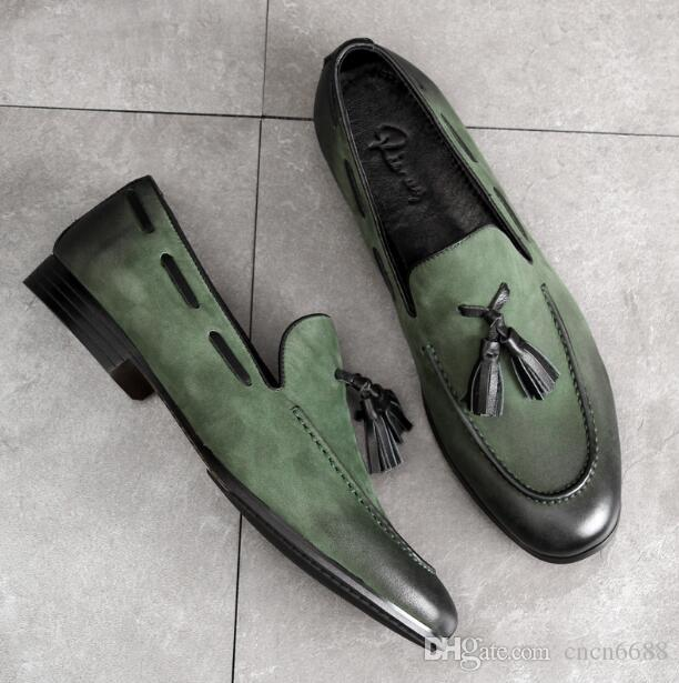 Мужчины марочные кисточками Loafer нубука платье обувь из натуральной кожи с низким топ дышащая скольжения на Flats круглый носок Кожаная обувь высокого качества