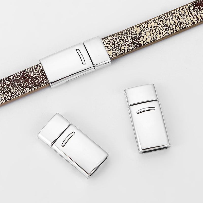 5 conjuntos de Prata Brilhante Encantos Plana Fecho Magnético Forte Para 10x2mm Pulseira de Cordão de Couro Chato Jóias Fazendo Descobertas Material