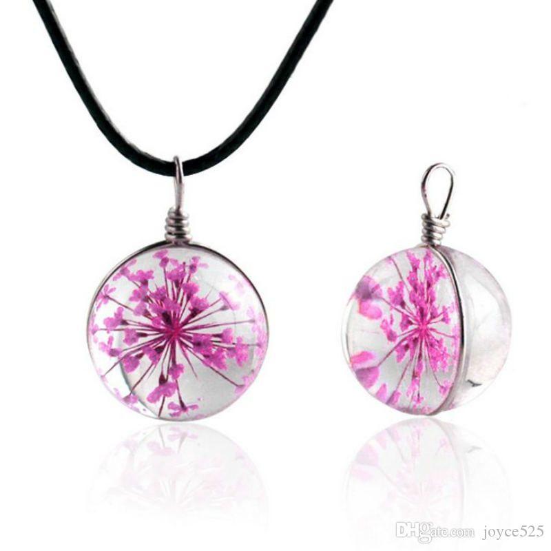 Moda Dried Bola de vidro flor pingente de colar de corda Cadeia Colar por Mulheres Faixa Gargantilha de couro da jóia do casamento