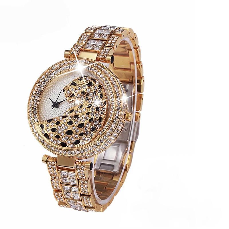 MISSFOX 30m Leben wasserdicht Gold-Quarz-Uhr-Art und Weise Bling beiläufige Damen-Uhr-Kristall-Diamant-Leopard für Frauen Uhr C19010301