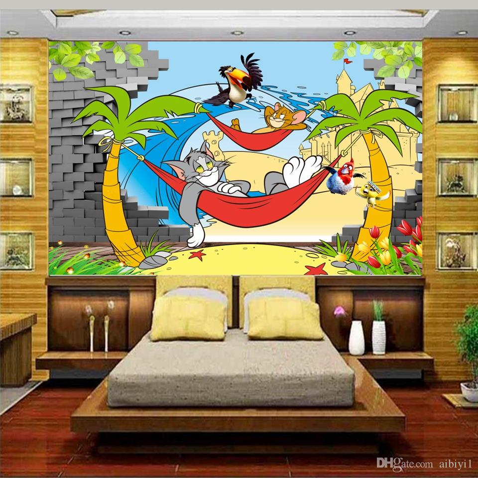 custom size 3d photo wallpaper kids room cartoon cat animal coco broken wall 3d picture sofa TV backdrop wallpaper mural non-woven sticker