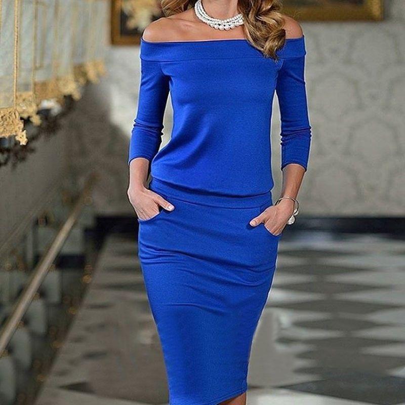 AprilGrass Marque Designer Club des femmes Robe moulante à manches longues col bateau Sexy Night Club Wear Noir Blue Party Celebrity Robes XL