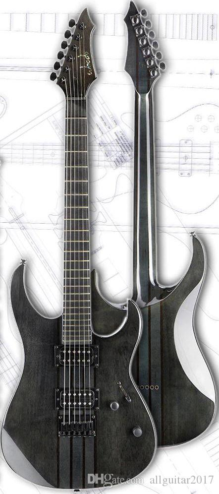 China guitar black Alder 6 string Neck thru body one piece body ebony fretboard electric guitar