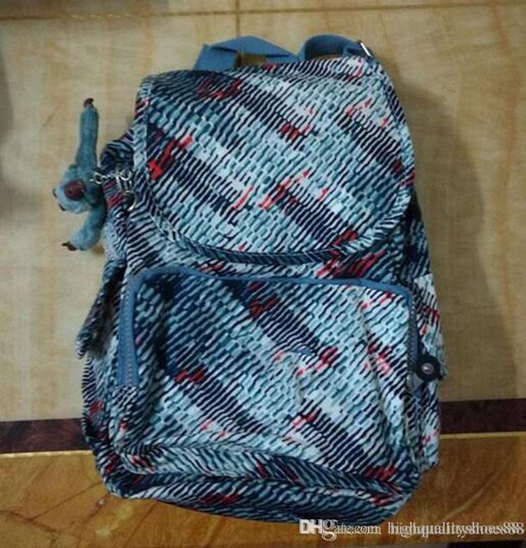 Men madam Ultralight stripe zipper waterproof Nylon monkey star PRINTED Multicolor pocket backpack City Pack in common use Pack K-P12147-2