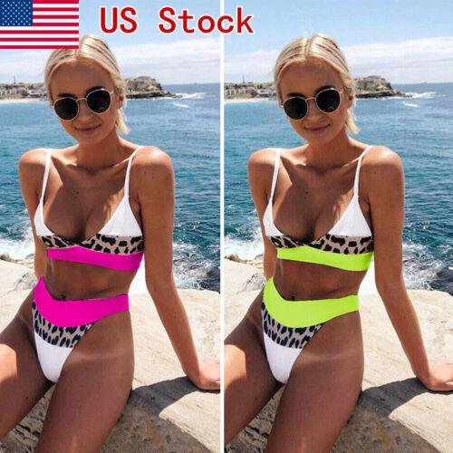 NOVO Mulheres Sexy Leopard cintura alta Bikini Push-Up acolchoado Lady férias Cor Patchwork Swimwear Swimsuit Terno Beachwear