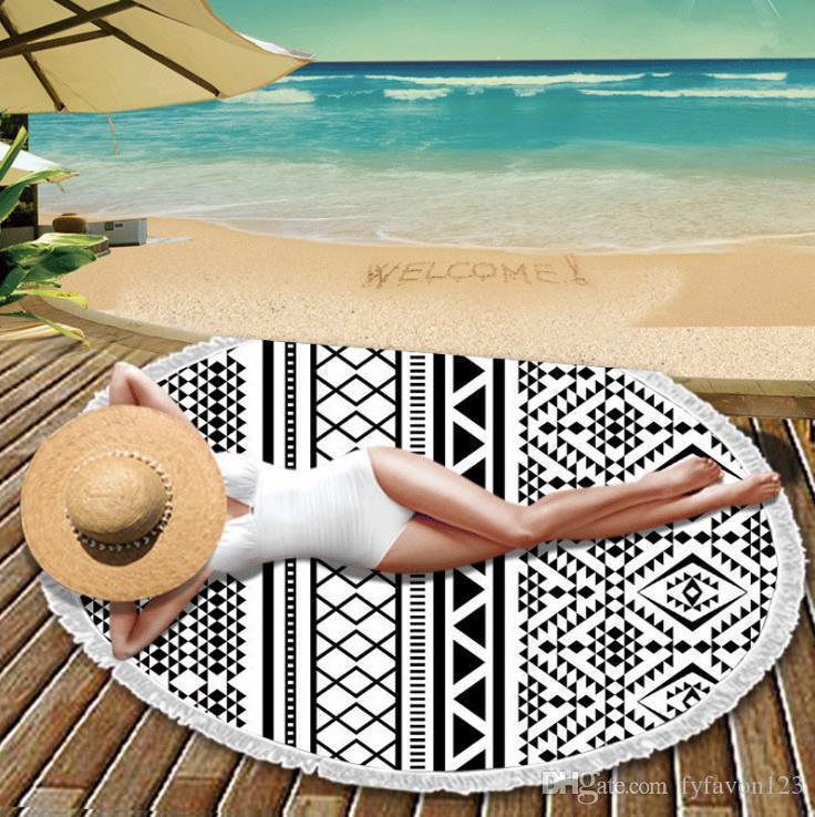Round Mandala plage 44 Styles Serviettes imprimé tapisserie Hippie Boho Bohême Serviette de plage Nappe Serviette de plage Couvre Wrap Yoga A808 Châle