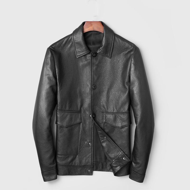 2019 Sonbahar Yeni Deri Ceket Erkekler Biker Motosiklet Ceketler Gerçek Deri Hakiki Ceket Erkekler jaqueta de Couro Deri Ceket