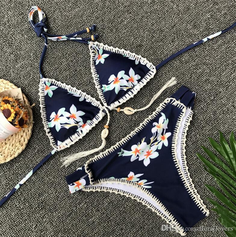 6a7651bbaccc Compre A11S046 Tejido A Mano Trajes De Baño De Crochet Bikini Floral Traje  De Baño Bikini Sexy Venta Al Por Mayor Madura Ropa De Playa Mujeres ...