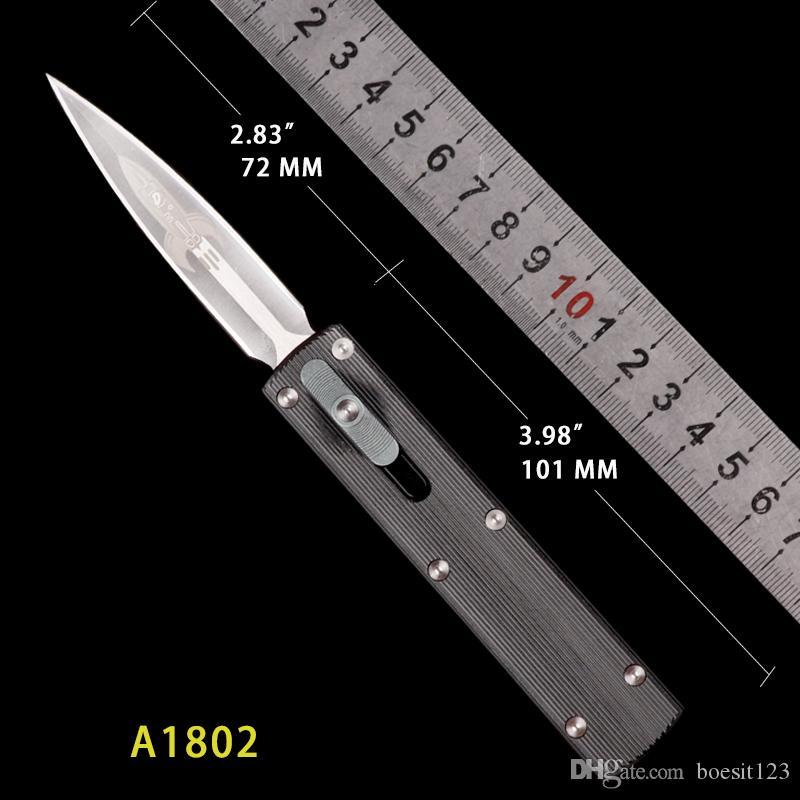 Kısa Zulu D Roket bıçak Hediye siyah kolu Mikro teknoloji Otomatik bıçak CNC eylem taktik kesici dişli taktik bıçaklar MT EDC çakı