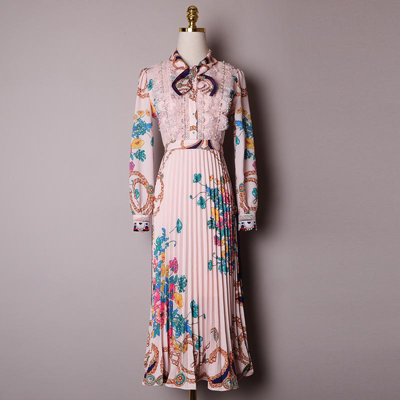 2020 de primavera y verano de manga larga de cuello redondo de color de rosa de la impresión floral de la cinta corbata de lazo plisado vestido de la media pantorrilla elegantes vestidos casuales XM151316