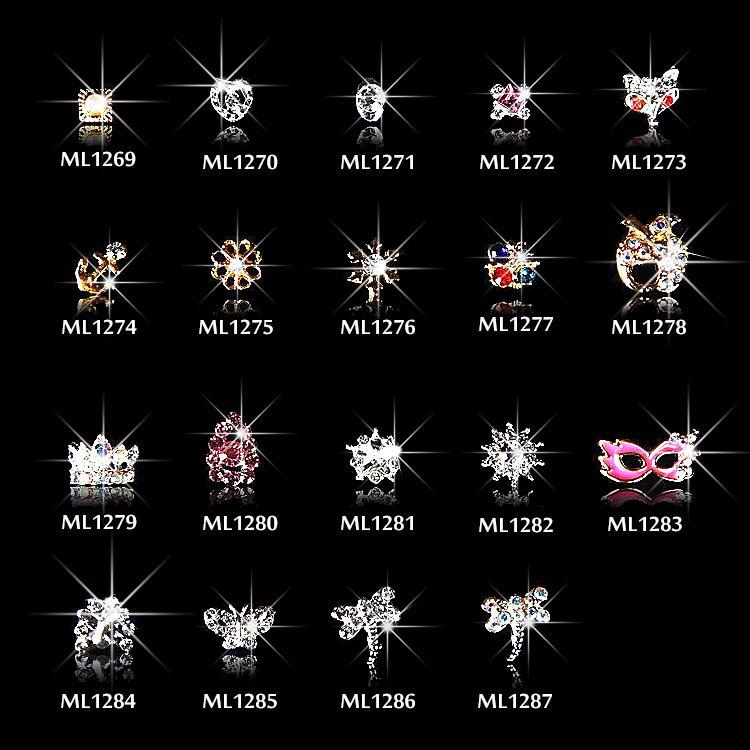 2018 New'in 10pcs Kristal Renkli Tırnak Yapay elmas Alaşım Nail Art Dekorasyon Glitter DIY 3D Taç / Bow Takı kolye