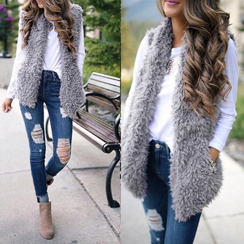2019 gilet invernale per le donne peluche chalecos mujer Faux Fur casuale solido senza maniche caldo del panciotto caldo cashmere cardigan