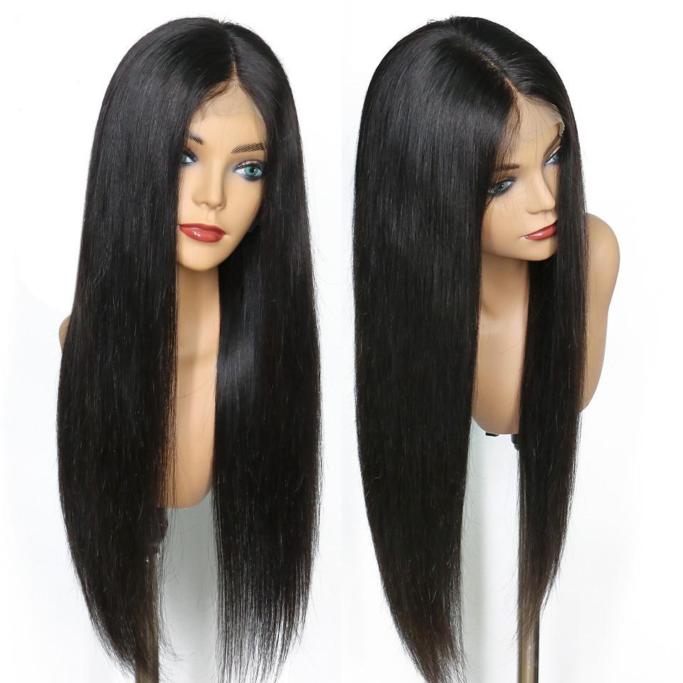 Beste Qualität volle Spitze schwarze lange gerade synthetische Perücke Spitze vor Natürlicher Haarstrich Hitzebeständige Faser voller Dichte Perücke für schwarze Frauen
