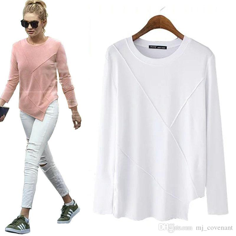women novelty asymmetry loose T shirts basic style o neck long sleeve tees ladies cozy solid color casual tops plus size LT864