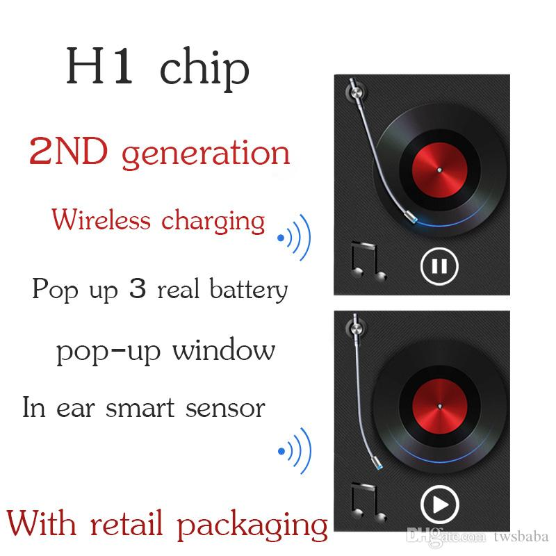 carga H1 viruta segunda generación real de la batería Auto Pausa Sensores oreja los auriculares Auriculares de control por voz para iOS / Android pop-up de auriculares inalámbricos inteligentes