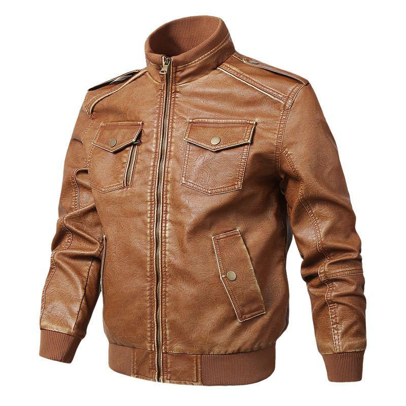 Herren PU-Leder-Jacken Herren-Mäntel neue Art und Weise Mehr Tasche Motorrad-Leder-Mantel-Männer Marken-Kleidung 5XL-Kragen-Jacken-Standplatz