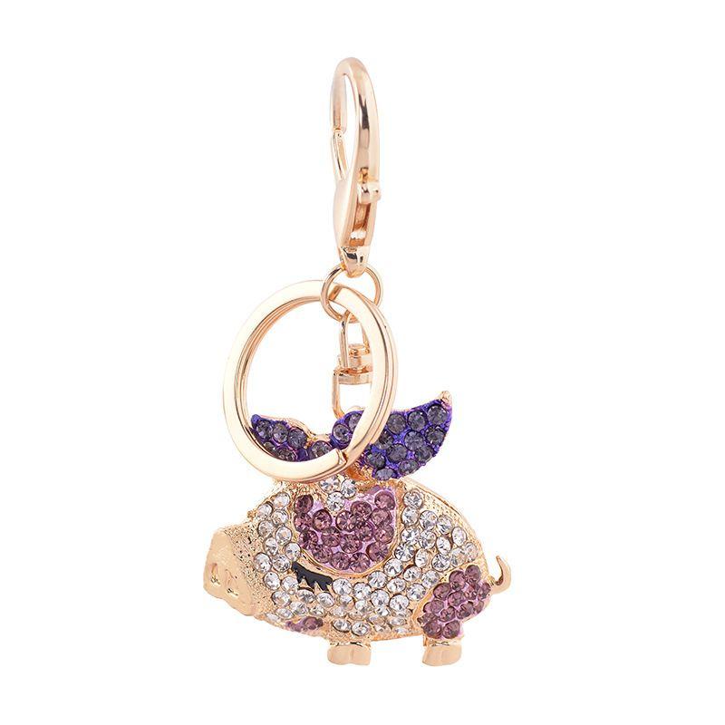 Bling Bling Crystal Rhinestone Cute Pig Metal Keychain Keyring Car Keychains Purse Charms Handbag Pendant Best Gift