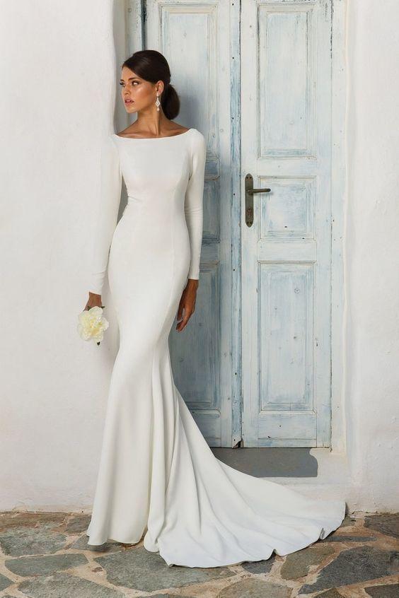 great deals 2017 the best top fashion Acheter 2019 Nouveau Simple Sirène Modeste Crêpe Robes De Mariée À Manches  Longues Simple Femmes Élégantes Boho Informelle Robes De Mariée Plage De ...