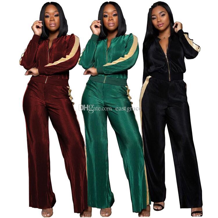 여성 캐주얼 의류 여성 패션 2 조각 세트 야외 지퍼 코트와 캐주얼 느슨한 바지 3 색
