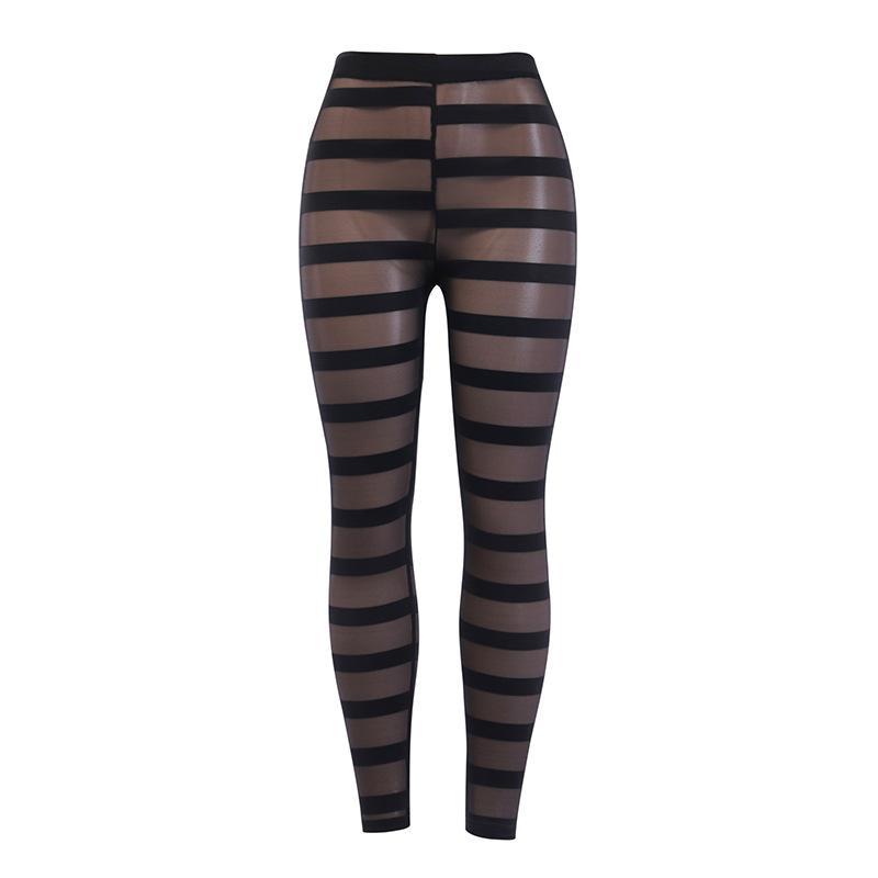 LAISIYI Femmes Sexy Croix Transparent Rayures verticales Pantalons Mesh New Femmes Leggings d'été à taille haute longues Pantalons Mujer ASPA20196
