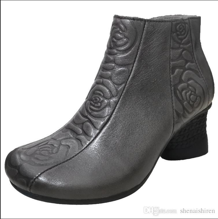 sapatas florais vaqueiro estilo popular retro das mulheres para o outono / inverno 2019 novos grossa de couro de salto alto botas curtas