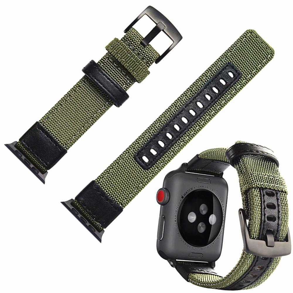 Для Apple Watch Band нейлон с Кожаный ремешок для часов замена 38 мм/42 мм с черной металлической пряжкой лучший